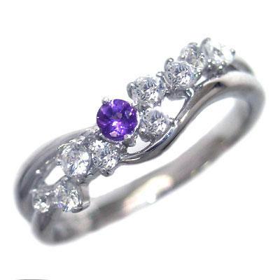 ダイヤモンド 2月誕生石 K18ホワイトゴールド アメジスト ダイヤモンド リング【DEAL】 末広 スーパーSALE【今だけ代引手数料無料】