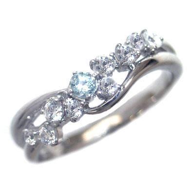 ダイヤモンド 3月誕生石 K18ホワイトゴールド アクアマリン ダイヤモンド リング【DEAL】 末広 スーパーSALE【今だけ代引手数料無料】