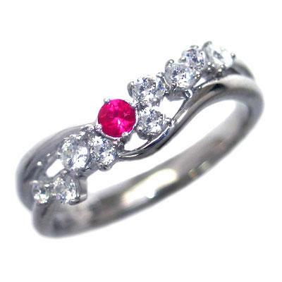 ダイヤモンド 7月誕生石 K18ホワイトゴールド ルビー ダイヤモンド リング 末広 スーパーSALE【今だけ代引手数料無料】