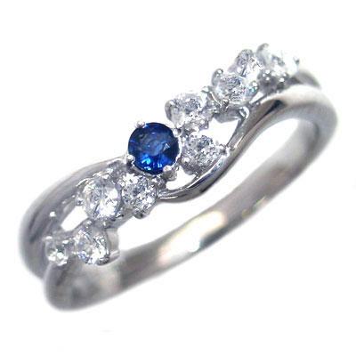 ダイヤモンド 9月誕生石 K18ホワイトゴールド サファイア ダイヤモンド リング【DEAL】