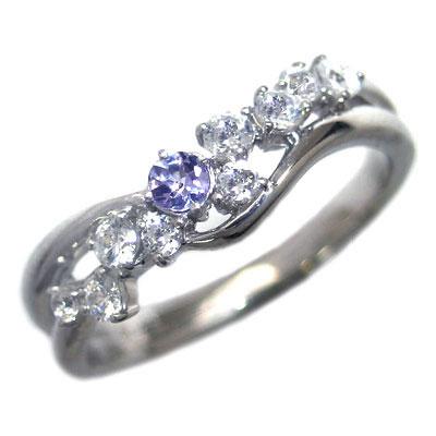 ダイヤモンド 12月誕生石 K18ホワイトゴールド タンザナイト ダイヤモンド リング【DEAL】