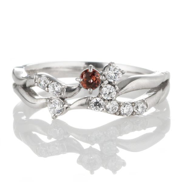 ダイヤモンド 1月誕生石 K18ホワイトゴールド ガーネット ダイヤモンド リング 【DEAL】