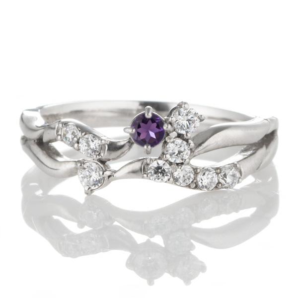 ダイヤモンド 2月誕生石 K18ホワイトゴールド アメジスト ダイヤモンド リング 【DEAL】