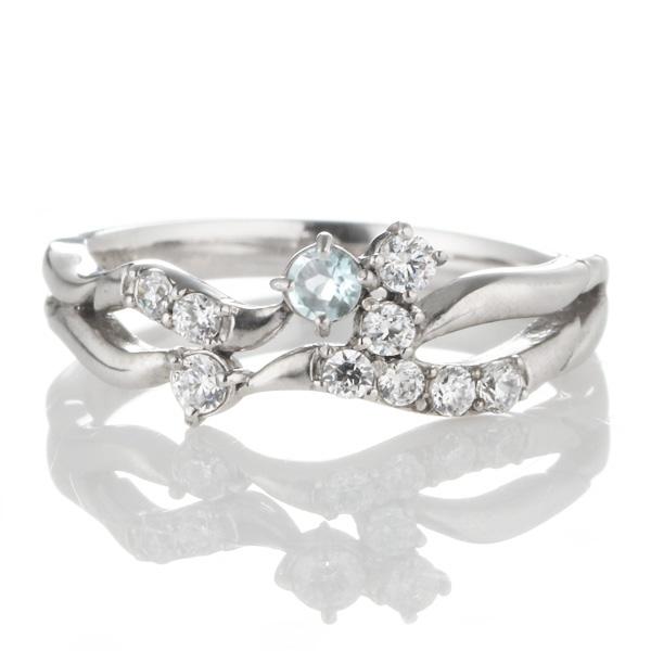 ダイヤモンド 3月誕生石 K18ホワイトゴールド アクアマリン ダイヤモンド リング 【DEAL】