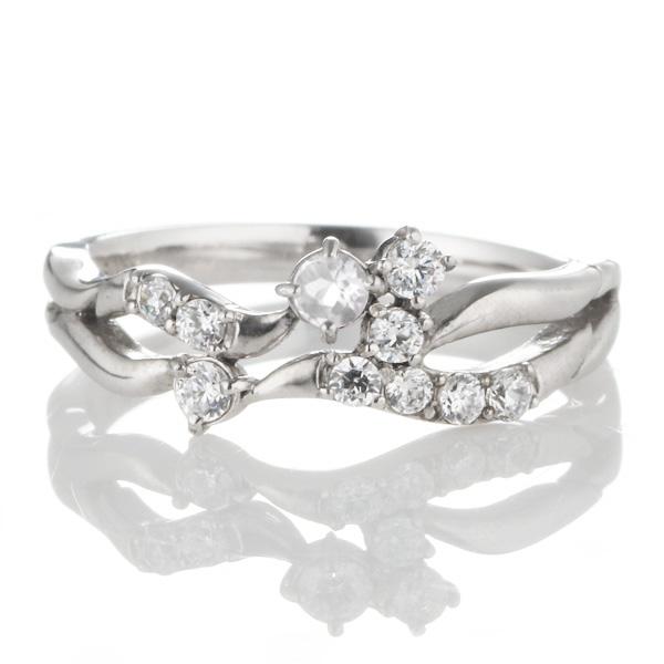 ダイヤモンド 6月誕生石 K18ホワイトゴールド ムーンストーン ダイヤモンド リング 【DEAL】