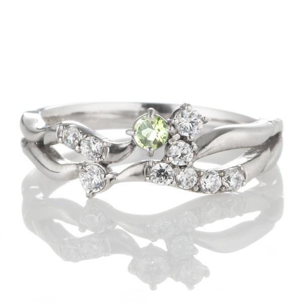 ダイヤモンド 8月誕生石 K18ホワイトゴールド ペリドット ダイヤモンド リング 【DEAL】