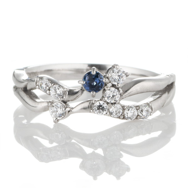 ダイヤモンド 9月誕生石 K18ホワイトゴールド サファイア ダイヤモンド リング 【DEAL】