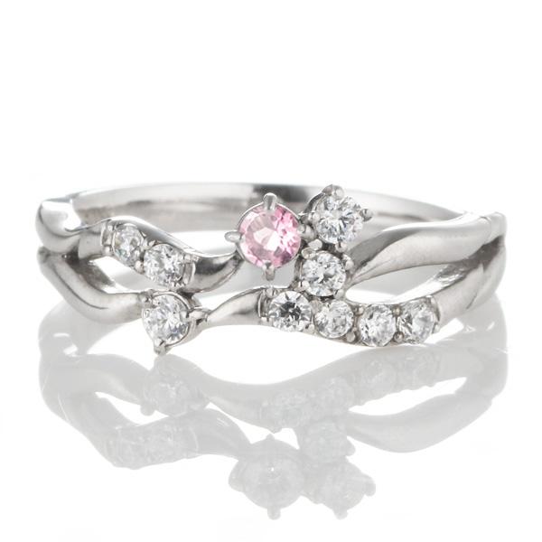 10月誕生石 ダイヤモンド 10月誕生石 K18ホワイトゴールド ピンクトルマリン ダイヤモンド リング 【DEAL】