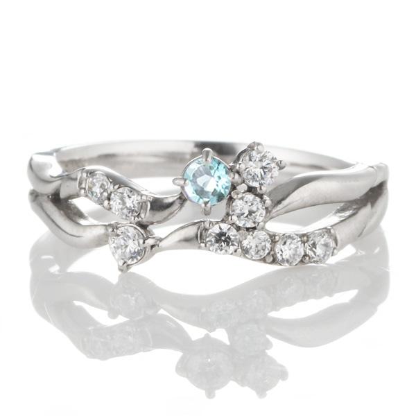 ダイヤモンド 11月誕生石 K18ホワイトゴールド ブルートパーズ ダイヤモンド リング 【DEAL】