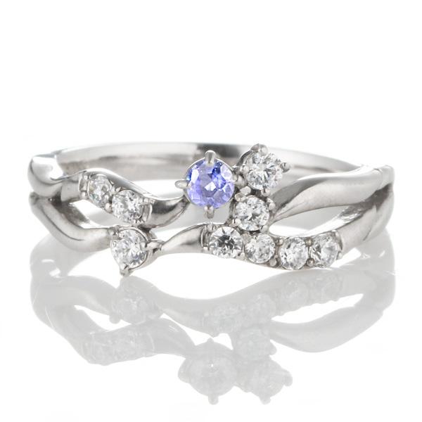 ダイヤモンド 12月誕生石 K18ホワイトゴールド タンザナイト ダイヤモンド リング 【DEAL】