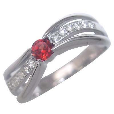 ガーネット ( 1月誕生石 ) K18ホワイトゴールドガーネット・ダイヤモンドリング(婚約指輪・エンゲージリング)