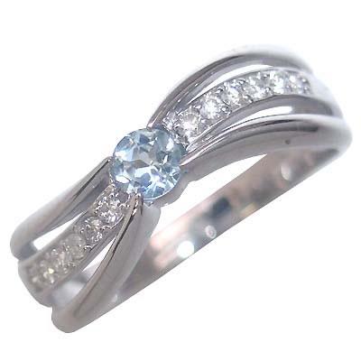 アクアマリン ( 3月誕生石 ) K18ホワイトゴールドアクアマリン・ダイヤモンドリング(婚約指輪・エンゲージリング) 末広 スーパーSALE【今だけ代引手数料無料】