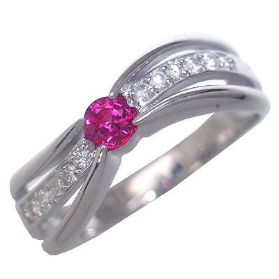 ルビー ( 7月誕生石 ) K18ホワイトゴールドルビー・ダイヤモンドリング(婚約指輪・エンゲージリング)