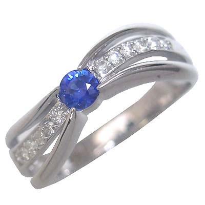 サファイア サファイヤ ( 9月誕生石 ) K18ホワイトゴールドサファイア・ダイヤモンドリング(婚約指輪・エンゲージリング)