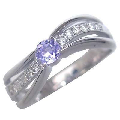 タンザナイト ( 12月誕生石 ) K18ホワイトゴールドタンザナイト・ダイヤモンドリング(婚約指輪・エンゲージリング)