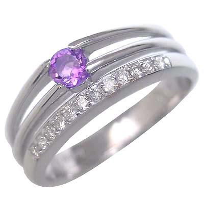 アメジスト ( 2月誕生石 ) K18ホワイトゴールドアメジスト・ダイヤモンドリング(婚約指輪・エンゲージリング) 末広 スーパーSALE【今だけ代引手数料無料】