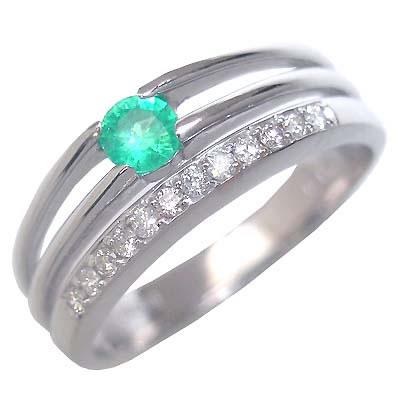 エメラルド 5月誕生石 K18ホワイトゴールドエメラルド・ダイヤモンドリング(婚約指輪・エンゲージリング)