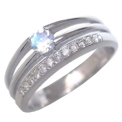 ムーンストーン ( 6月誕生石 ) K18ホワイトゴールドムーンストーン・ダイヤモンドリング(婚約指輪・エンゲージリング) 末広 スーパーSALE【今だけ代引手数料無料】