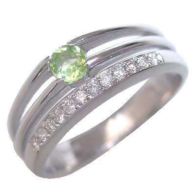 ペリドット ( 8月誕生石 ) K18ホワイトゴールドペリドット・ダイヤモンドリング(婚約指輪・エンゲージリング) 末広 スーパーSALE【今だけ代引手数料無料】