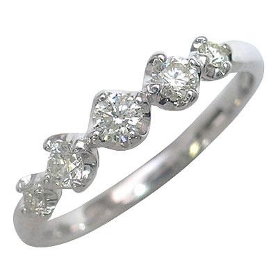 ファイブストーン K18ホワイトゴールドダイヤモンドリング 【DEAL】