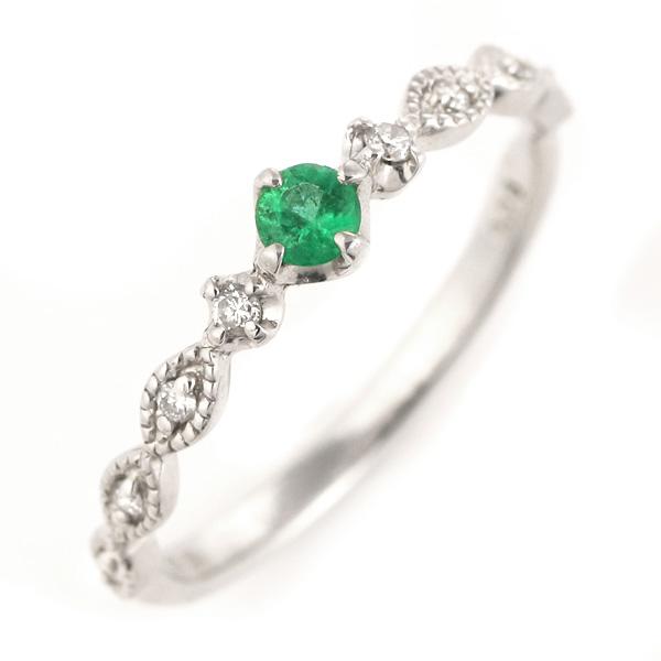 エメラルド リング ダイヤモンド おしゃれ k18 18金 指輪 レディース 宝石