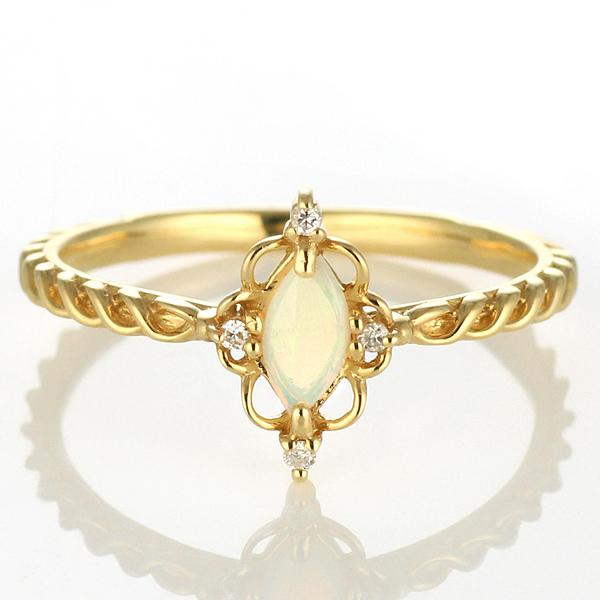 ダイヤモンド リング オパール ダイヤモンドリング 指輪 イエローゴール 10月 誕生石 【DEAL】