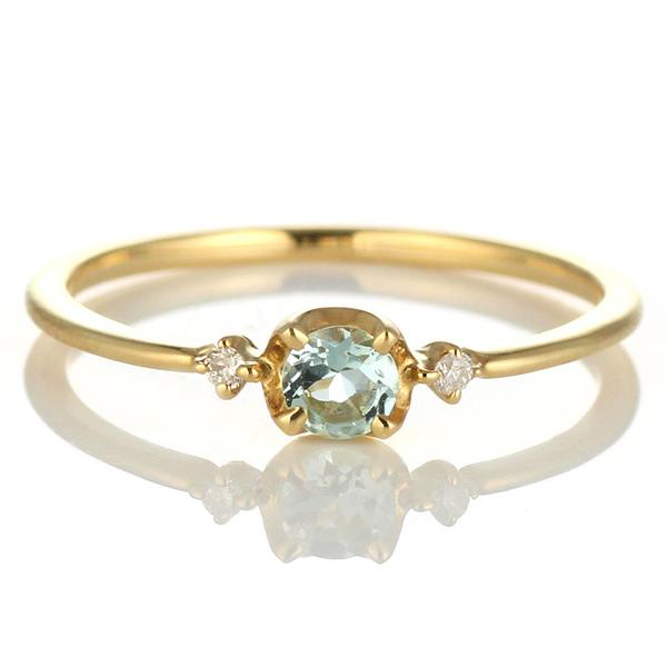 ダイヤモンド リング アクアマリン ダイヤモンドリング 指輪 イエローゴールド 3月 誕生石 【DEAL】 末広 スーパーSALE