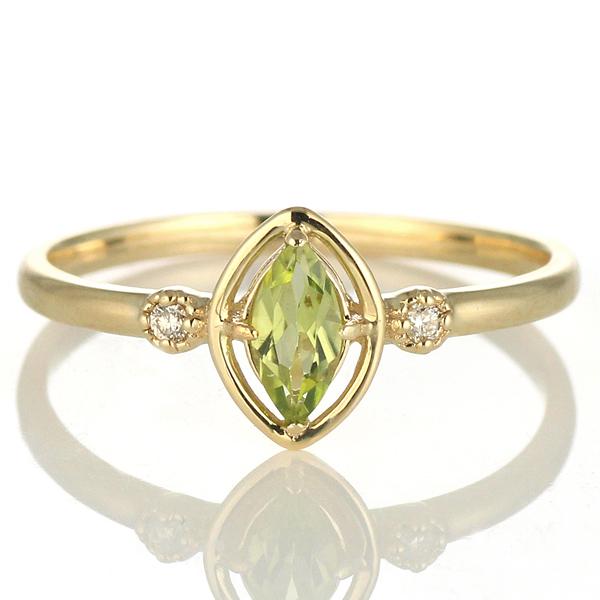 ダイヤモンド リング ダイヤモンドリング ペリドット 8月 誕生石 指輪 イエローゴールド 【DEAL】