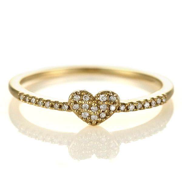 婚約指輪 エンゲージリング ダイヤモンド 10金 金 K10 イエローゴールド ハート 人気 おすすめ レディース 女性 末広 スーパーSALE