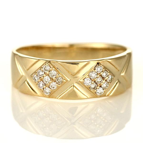 ピンキーリング 指輪 ダイヤモンド 10金 金 K10 イエローゴールド ひし形 ゴージャス 人気 おすすめ レディース 女性