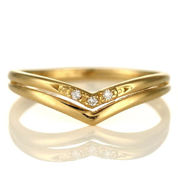 婚約指輪 エンゲージリング ダイヤモンド 18金 金 K18 18k イエローゴールド V字 人気 おすすめ レディース 女性【DEAL】