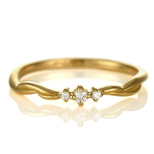 指輪 ダイヤモンド リング 18金 金 K18 18k イエローゴールド スリーストーン 人気 おすすめ レディース 女性【DEAL】 末広 スーパーSALE