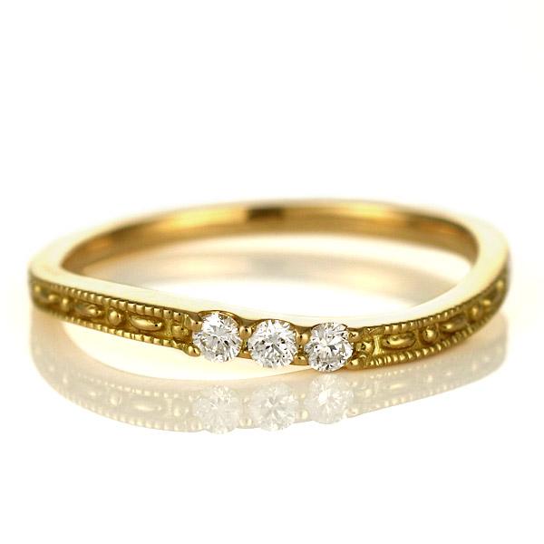 婚約指輪 エンゲージリング ダイヤモンド 18金 金 K18 18k イエローゴールド スリーストーン 人気 おすすめ レディース 女性【DEAL】 末広 スーパーSALE