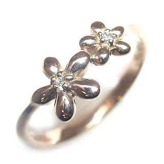 ( Brand Jewelry me. ) K18ピンクゴールドダイヤモンドピンキーリング(フラワーモチーフ) 【DEAL】