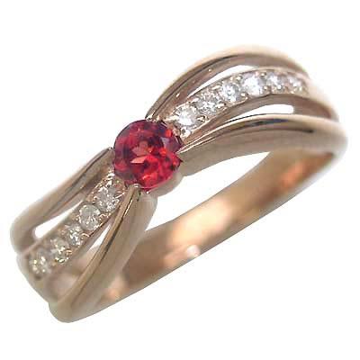 ガーネット ( 1月誕生石リング ) K18ピンクゴールドガーネット・ダイヤモンドリング(婚約指輪・エンゲージリング)