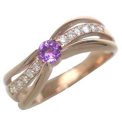 アメジスト ( 2月誕生石 ) K18ピンクゴールドアメジスト・ダイヤモンドリング(婚約指輪・エンゲージリング)