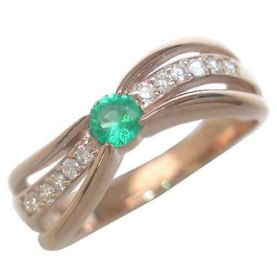 エメラルド 5月誕生石 K18ピンクゴールドエメラルド・ダイヤモンドリング(婚約指輪・エンゲージリング)