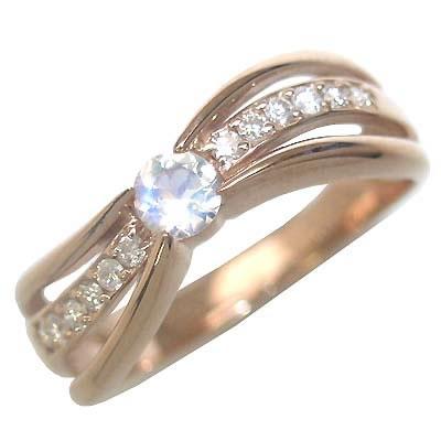 ムーンストーン ( 6月誕生石 ) K18ピンクゴールドムーンストーン・ダイヤモンドリング(婚約指輪・エンゲージリング)