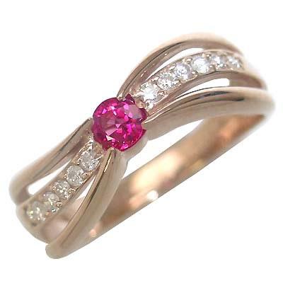 ルビー ( 7月誕生石 ) K18ピンクゴールドルビー・ダイヤモンドリング(婚約指輪・エンゲージリング) 末広 スーパーSALE【今だけ代引手数料無料】