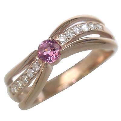 10月誕生石 ピンクトルマリン K18ピンクゴールドピンクトルマリン・ダイヤモンドリング(婚約指輪・エンゲージリング) 末広 スーパーSALE【今だけ代引手数料無料】