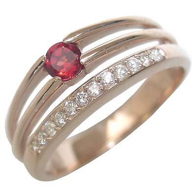 ガーネット ( 1月誕生石 ) K18ピンクゴールドガーネット・ダイヤモンドリング(婚約指輪・エンゲージリング)