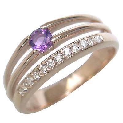 アメジスト ( 2月誕生石 ) K18ピンクゴールドアメジスト・ダイヤモンドリング(婚約指輪・エンゲージリング) 末広 スーパーSALE【今だけ代引手数料無料】