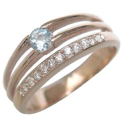 アクアマリン ( 3月誕生石 ) K18ピンクゴールドアクアマリン・ダイヤモンドリング(婚約指輪・エンゲージリング) 末広 スーパーSALE