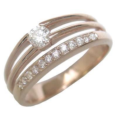 ダイヤモンド ダイヤ ( 4月誕生石 ) K18ピンクゴールドダイヤモンドリング(婚約指輪・エンゲージリング)