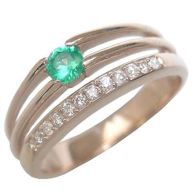 エメラルド 5月誕生石 K18ピンクゴールドエメラルド・ダイヤモンドリング(婚約指輪・エンゲージリング) 末広 スーパーSALE