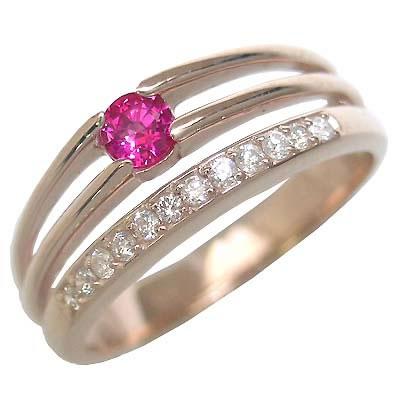 ルビー ( 7月誕生石 ) K18ピンクゴールドルビー・ダイヤモンドリング(婚約指輪・エンゲージリング)