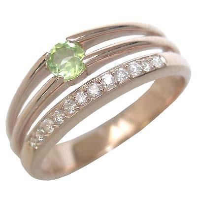 ペリドット ( 8月誕生石 ) K18ピンクゴールドペリドット・ダイヤモンドリング(婚約指輪・エンゲージリング)