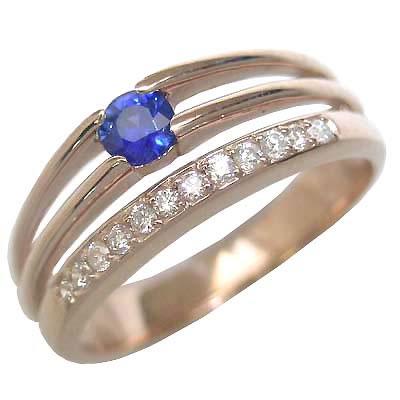 サファイア サファイヤ ( 9月誕生石 ) K18ピンクゴールドサファイア・ダイヤモンドリング(婚約指輪・エンゲージリング)