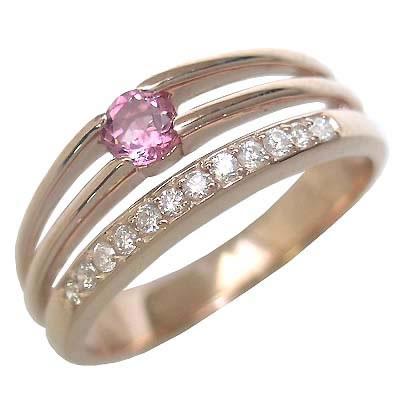 10月誕生石 ピンクトルマリン K18ピンクゴールドピンクトルマリン・ダイヤモンドリング(婚約指輪・エンゲージリング)