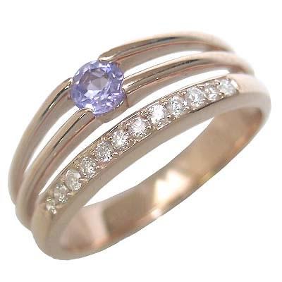 タンザナイト ( 12月誕生石 ) K18ピンクゴールドタンザナイト・ダイヤモンドリング(婚約指輪・エンゲージリング) 末広 スーパーSALE【今だけ代引手数料無料】